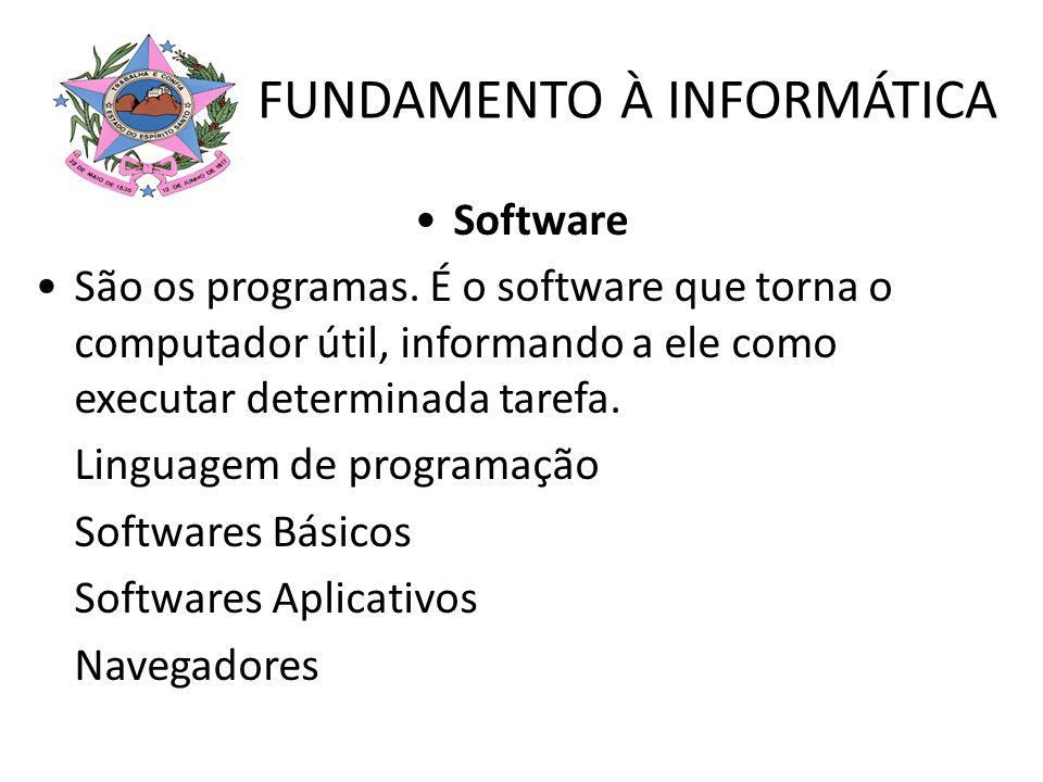 Software São os programas. É o software que torna o computador útil, informando a ele como executar determinada tarefa. Linguagem de programação Softw