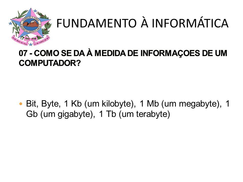 Bit, Byte, 1 Kb (um kilobyte), 1 Mb (um megabyte), 1 Gb (um gigabyte), 1 Tb (um terabyte) FUNDAMENTO À INFORMÁTICA