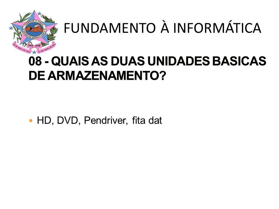 HD, DVD, Pendriver, fita dat FUNDAMENTO À INFORMÁTICA
