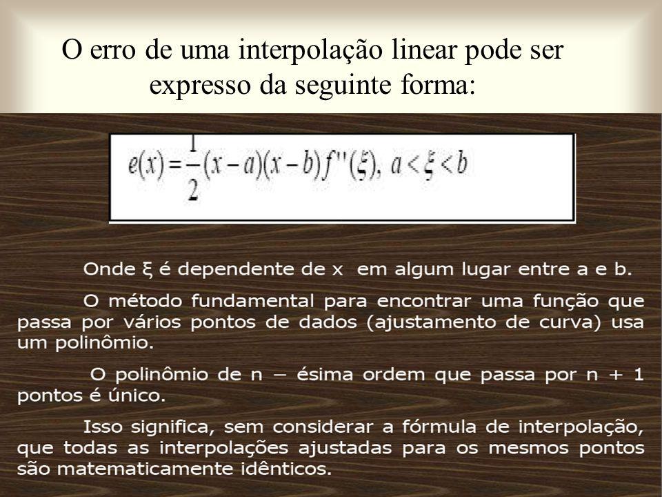 O erro de uma interpolação linear pode ser expresso da seguinte forma: