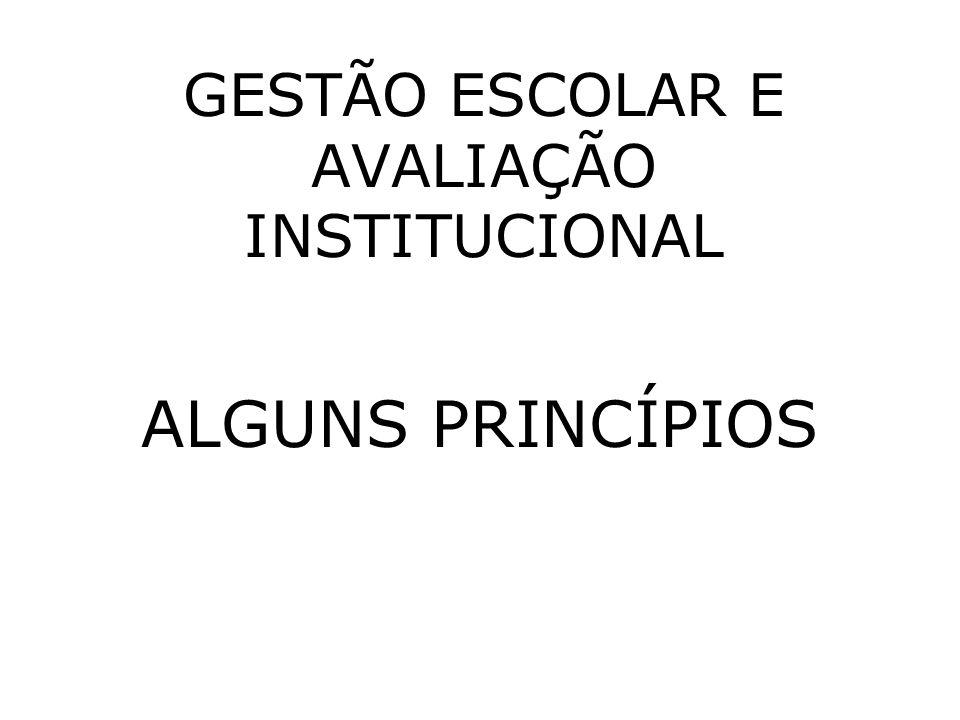 GESTÃO ESCOLAR E AVALIAÇÃO INSTITUCIONAL ALGUNS PRINCÍPIOS