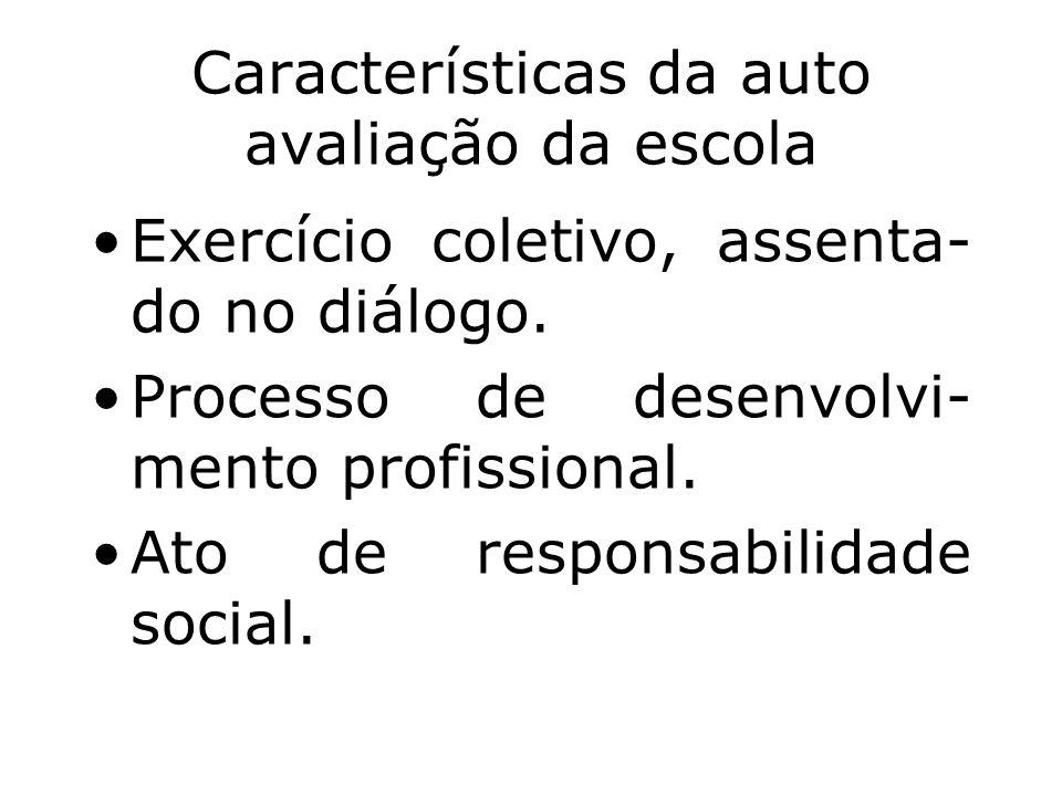 Características da auto avaliação da escola Exercício coletivo, assenta- do no diálogo. Processo de desenvolvi- mento profissional. Ato de responsabil