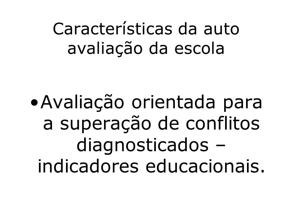 Características da auto avaliação da escola Avaliação orientada para a superação de conflitos diagnosticados – indicadores educacionais.
