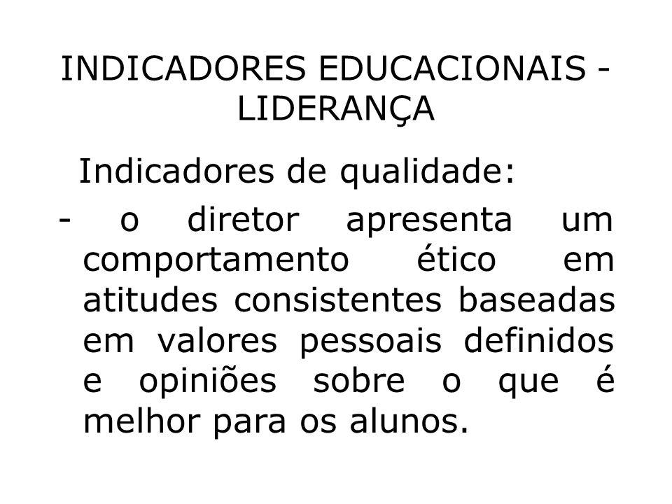 INDICADORES EDUCACIONAIS - LIDERANÇA Indicadores de qualidade: - o diretor apresenta um comportamento ético em atitudes consistentes baseadas em valor