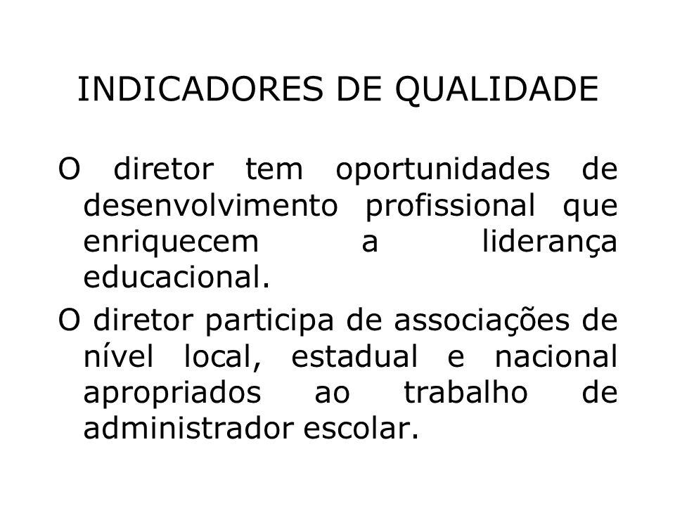 INDICADORES DE QUALIDADE O diretor tem oportunidades de desenvolvimento profissional que enriquecem a liderança educacional. O diretor participa de as
