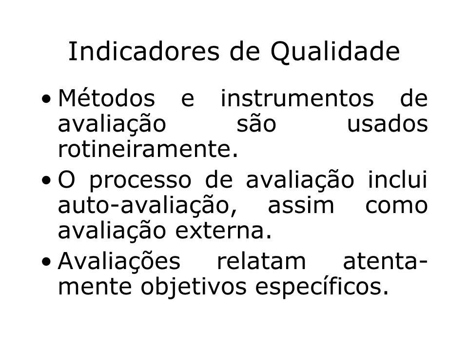 Indicadores de Qualidade Métodos e instrumentos de avaliação são usados rotineiramente. O processo de avaliação inclui auto-avaliação, assim como aval