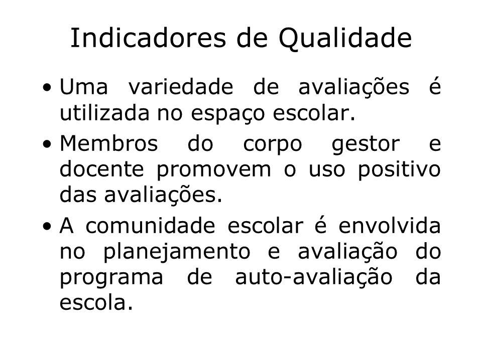 Indicadores de Qualidade Uma variedade de avaliações é utilizada no espaço escolar. Membros do corpo gestor e docente promovem o uso positivo das aval