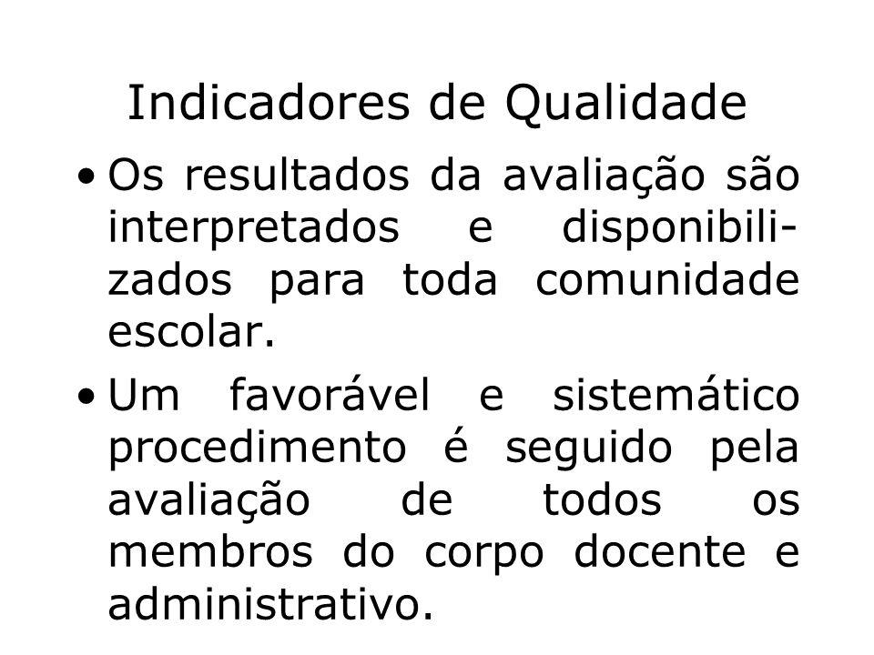 Indicadores de Qualidade Os resultados da avaliação são interpretados e disponibili- zados para toda comunidade escolar. Um favorável e sistemático pr