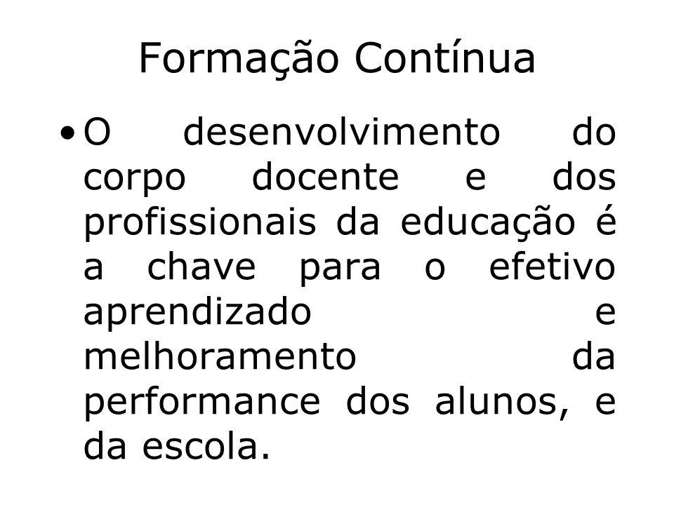 Formação Contínua O desenvolvimento do corpo docente e dos profissionais da educação é a chave para o efetivo aprendizado e melhoramento da performanc