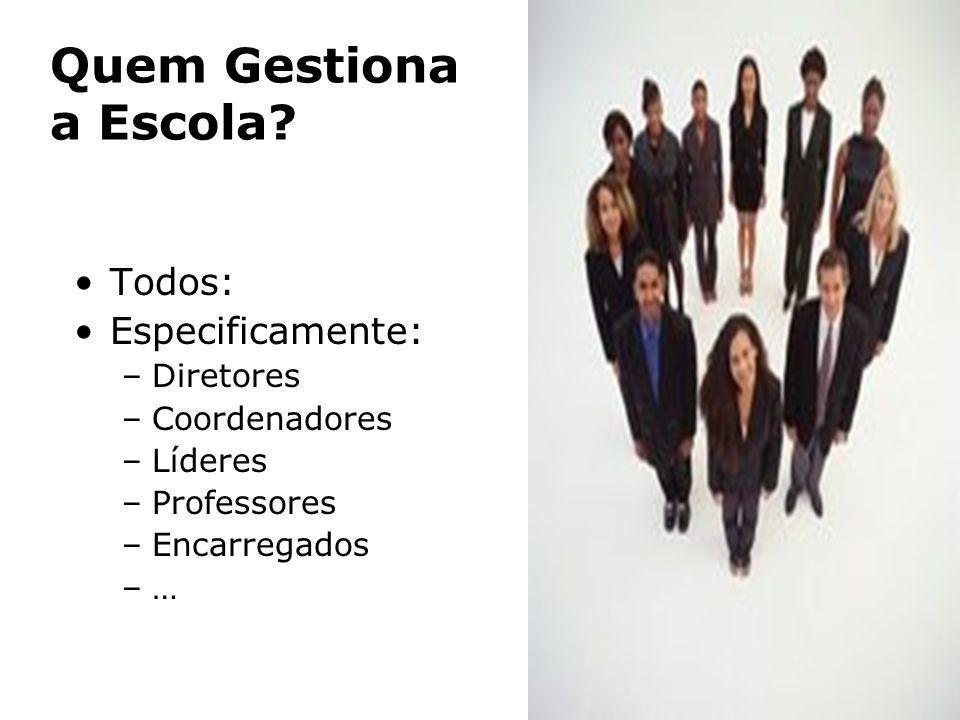 Quem Gestiona a Escola? Todos: Especificamente: –Diretores –Coordenadores –Líderes –Professores –Encarregados –…–…