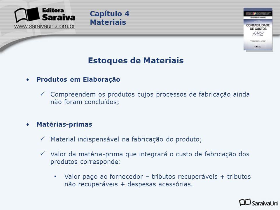 Capa da Obra Capítulo 4 Materiais Produtos em Elaboração Compreendem os produtos cujos processos de fabricação ainda não foram concluídos; Matérias-pr