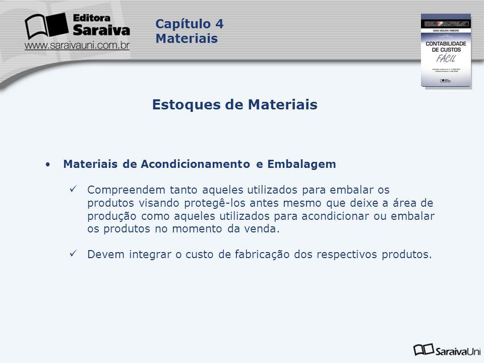 Capa da Obra Capítulo 4 Materiais Materiais de Acondicionamento e Embalagem Compreendem tanto aqueles utilizados para embalar os produtos visando prot