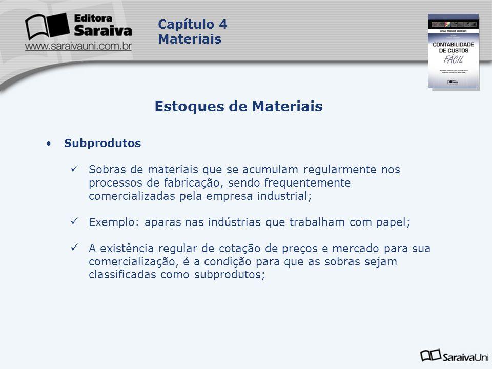Capa da Obra Capítulo 4 Materiais Subprodutos Sobras de materiais que se acumulam regularmente nos processos de fabricação, sendo frequentemente comer