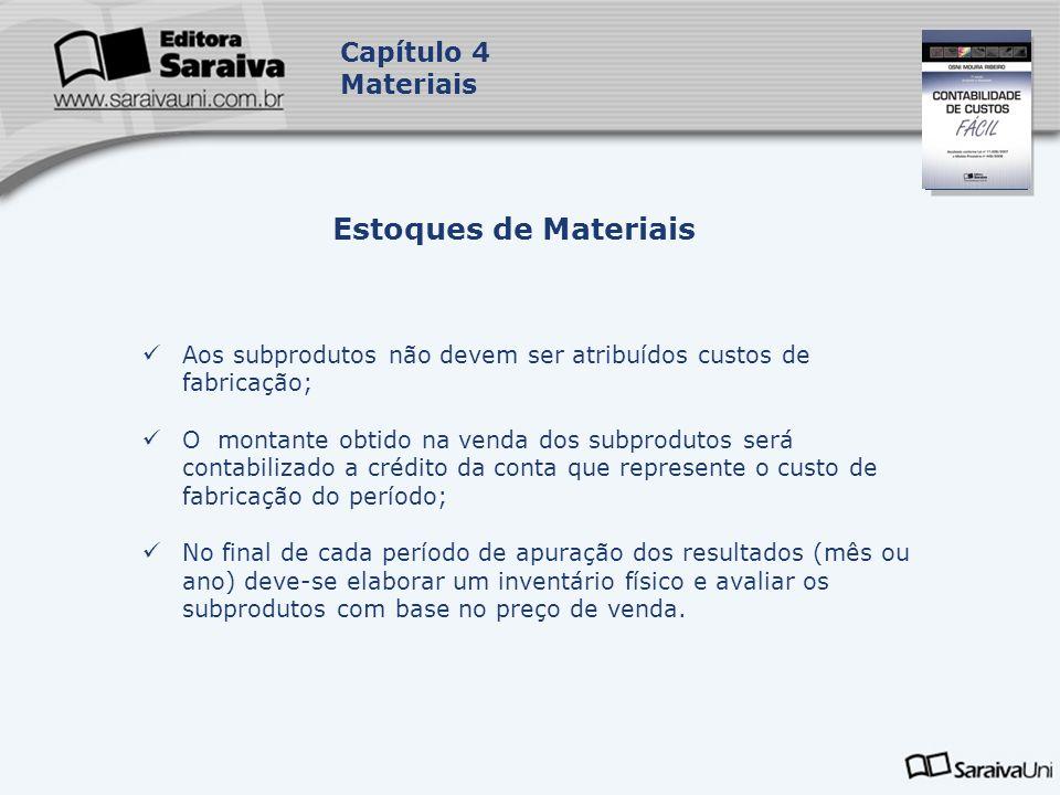 Capa da Obra Capítulo 4 Materiais Aos subprodutos não devem ser atribuídos custos de fabricação; O montante obtido na venda dos subprodutos será conta