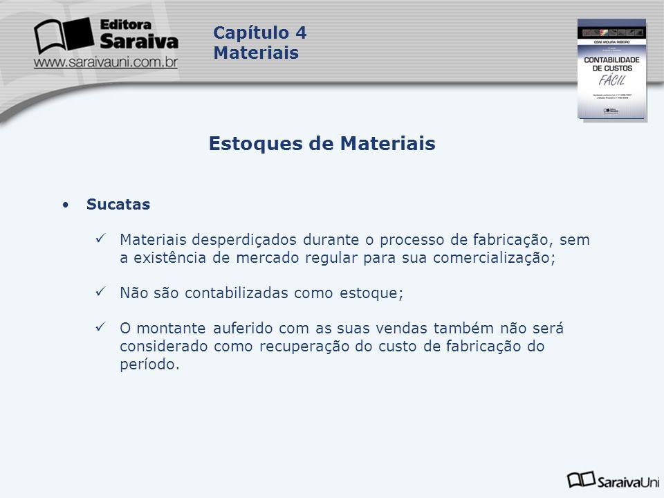 Capa da Obra Capítulo 4 Materiais Sucatas Materiais desperdiçados durante o processo de fabricação, sem a existência de mercado regular para sua comer