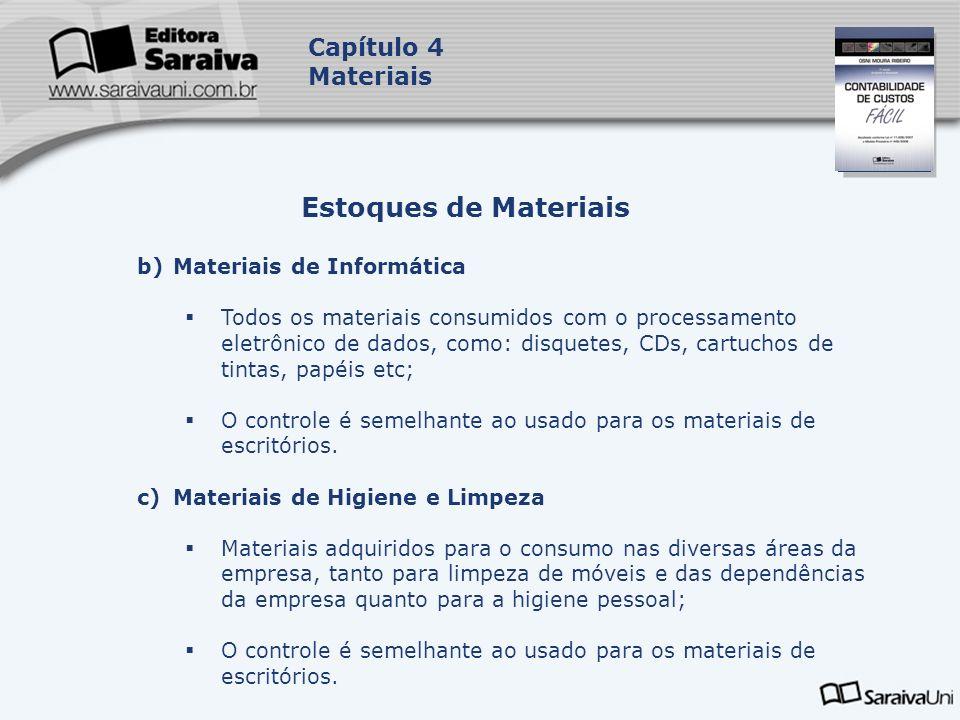 Capa da Obra Capítulo 4 Materiais b)Materiais de Informática Todos os materiais consumidos com o processamento eletrônico de dados, como: disquetes, C