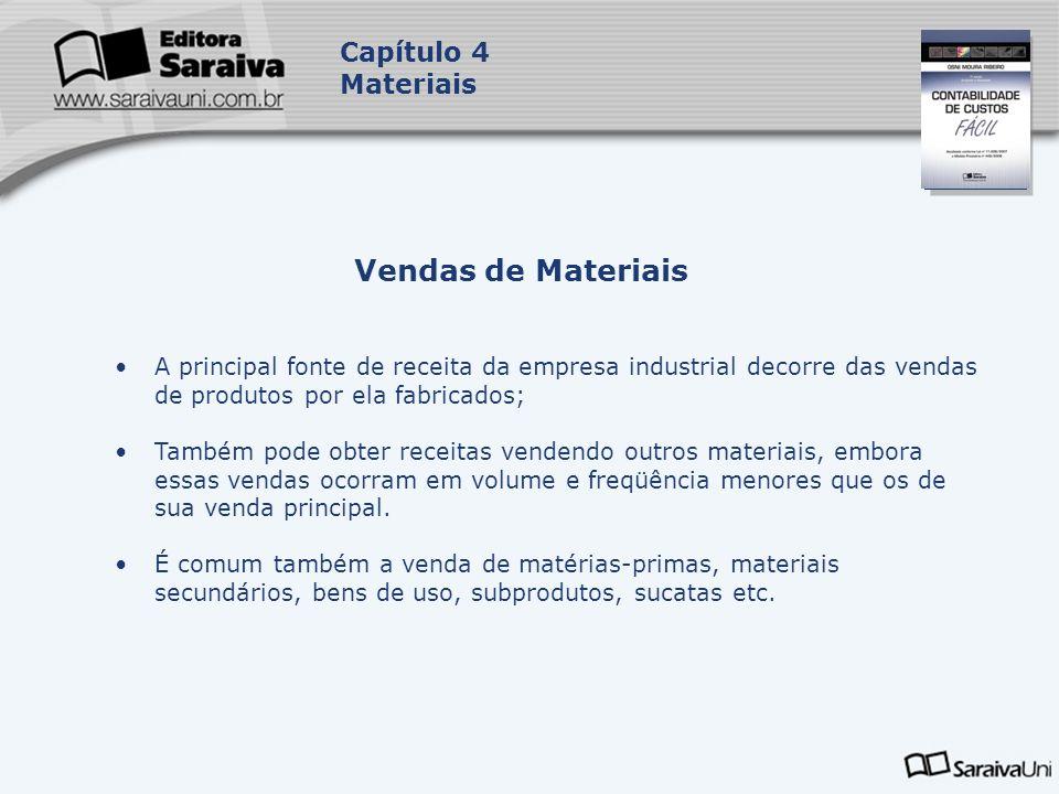 Capa da Obra Capítulo 4 Materiais Vendas de Materiais A principal fonte de receita da empresa industrial decorre das vendas de produtos por ela fabric