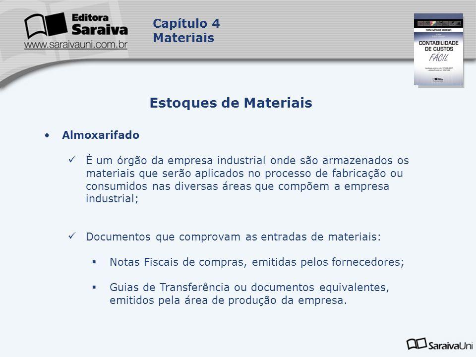 Capa da Obra Capítulo 4 Materiais Almoxarifado É um órgão da empresa industrial onde são armazenados os materiais que serão aplicados no processo de f