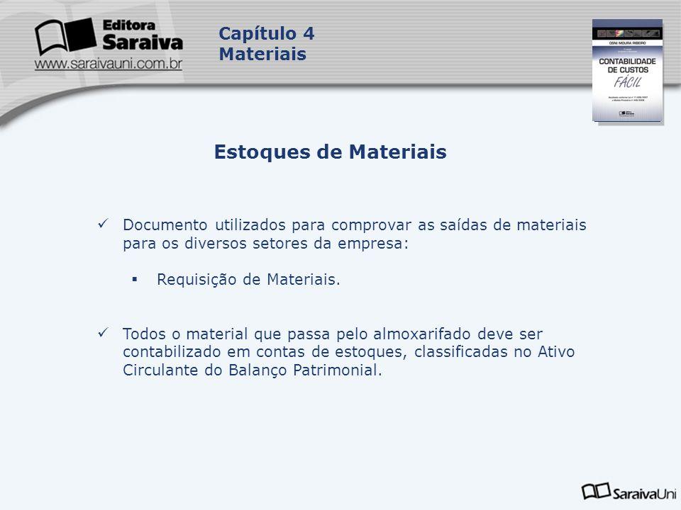 Capa da Obra Capítulo 4 Materiais Documento utilizados para comprovar as saídas de materiais para os diversos setores da empresa: Requisição de Materi