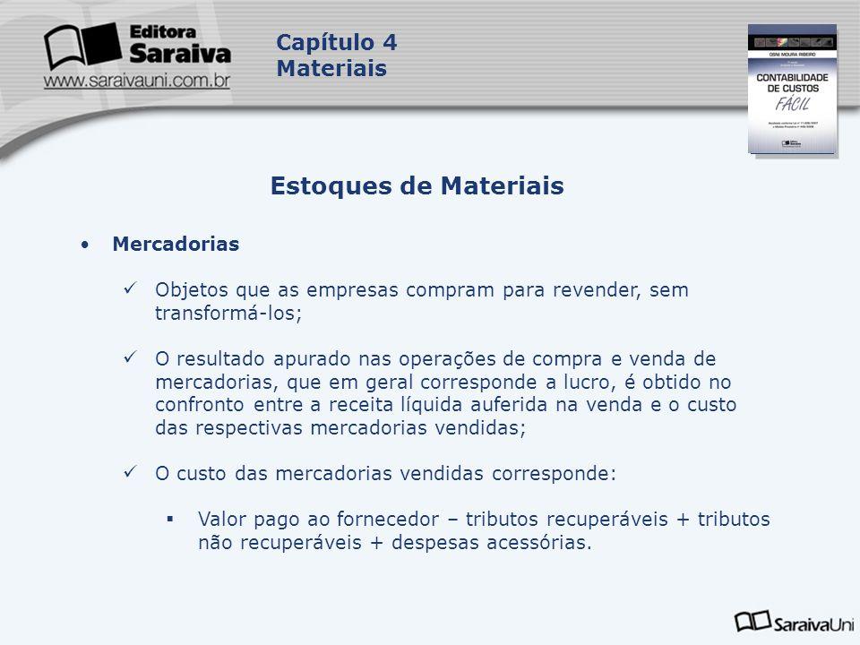 Capa da Obra Capítulo 4 Materiais Mercadorias Objetos que as empresas compram para revender, sem transformá-los; O resultado apurado nas operações de