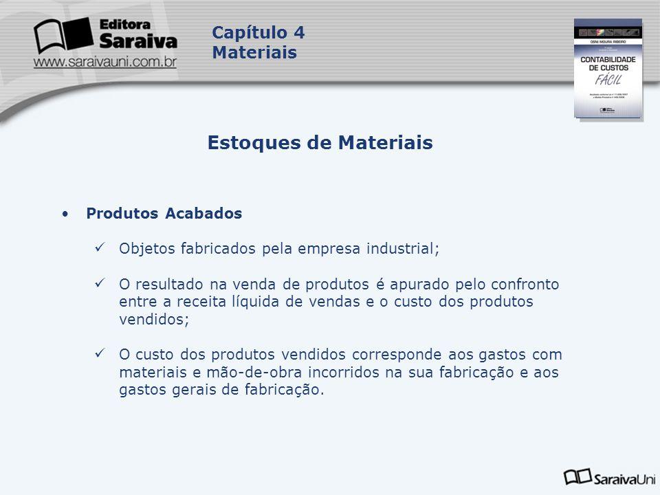 Capa da Obra Capítulo 4 Materiais Produtos Acabados Objetos fabricados pela empresa industrial; O resultado na venda de produtos é apurado pelo confro