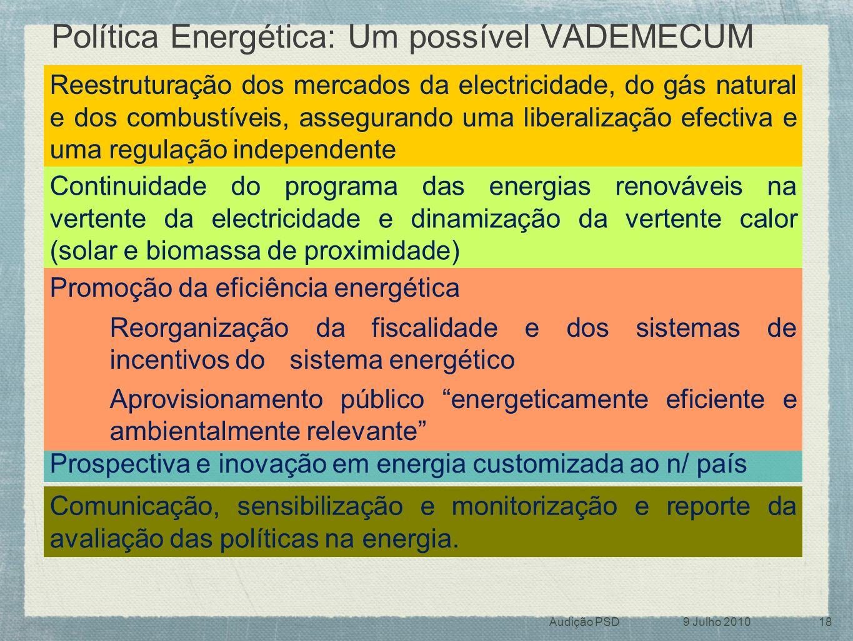 Política Energética: Um possível VADEMECUM Prospectiva e inovação em energia customizada ao n/ país Reestruturação dos mercados da electricidade, do g