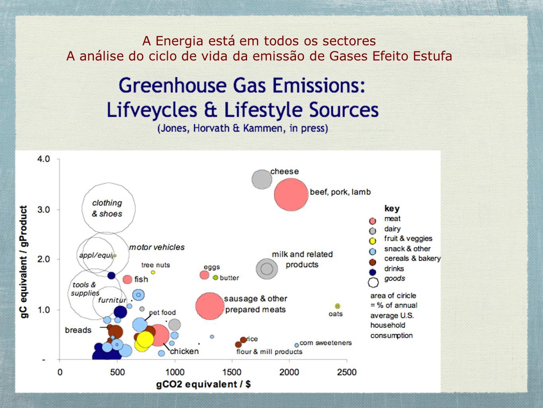 A Energia está em todos os sectores A análise do ciclo de vida da emissão de Gases Efeito Estufa