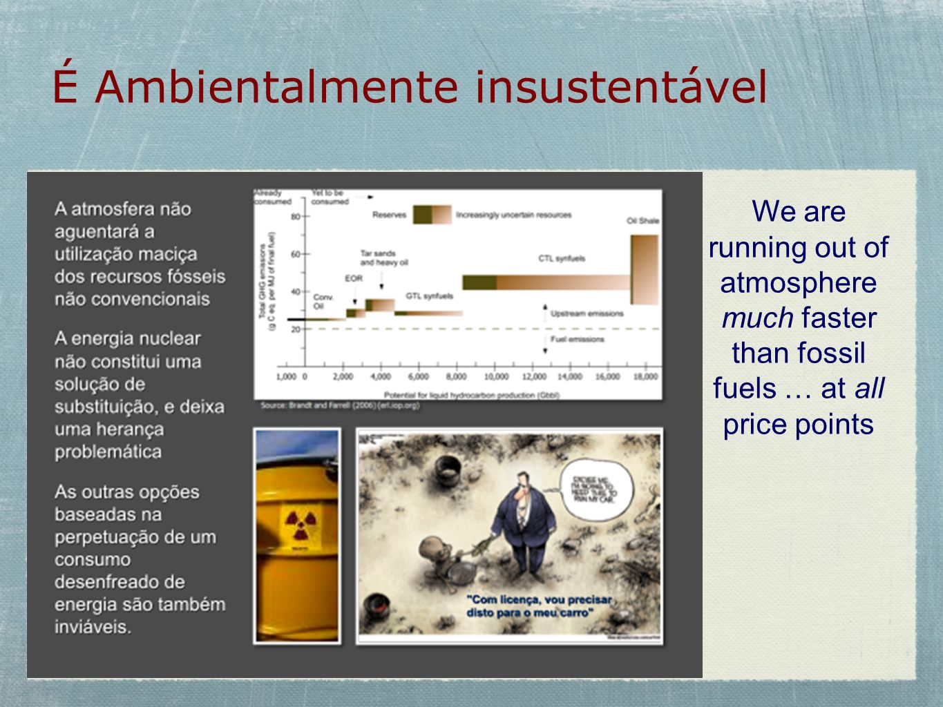 É Ambientalmente insustentável We are running out of atmosphere much faster than fossil fuels … at all price points