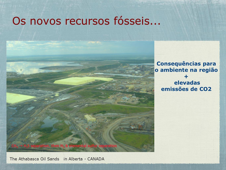 Os novos recursos fósseis... The Athabasca Oil Sands in Alberta - CANADA Text Consequências para o ambiente na região + elevadas emissões de CO2
