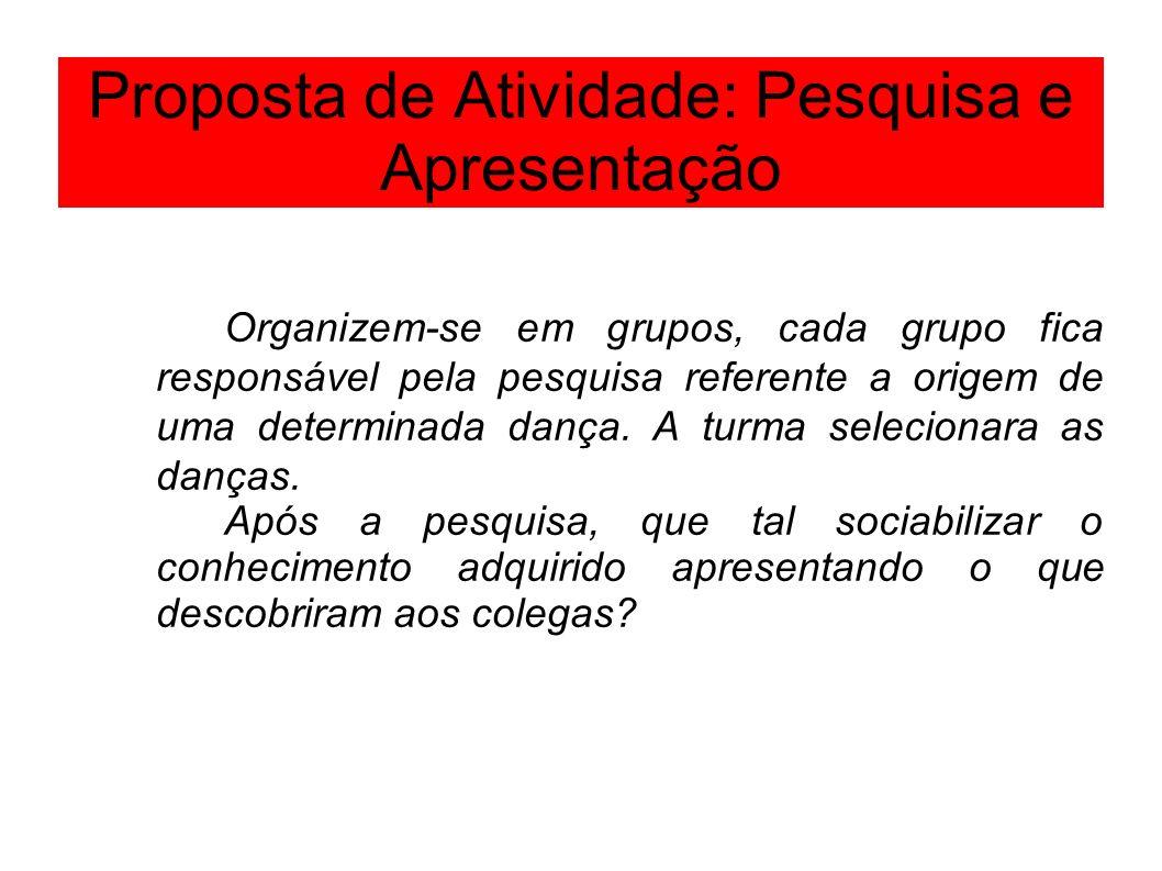 Proposta de Atividade: Pesquisa e Apresentação Organizem-se em grupos, cada grupo fica responsável pela pesquisa referente a origem de uma determinada