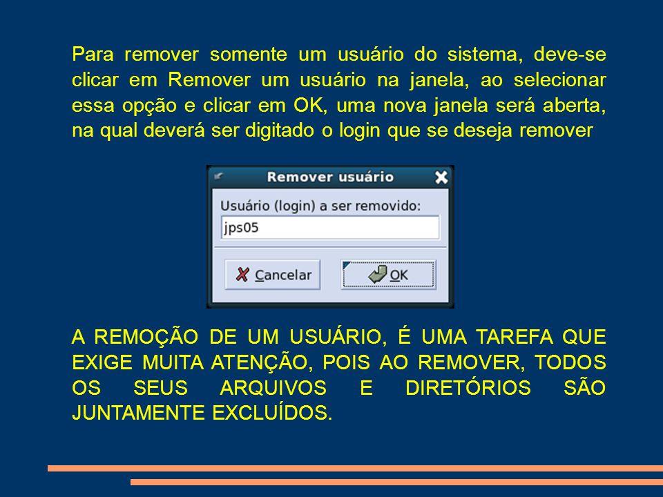 Para remover somente um usuário do sistema, deve-se clicar em Remover um usuário na janela, ao selecionar essa opção e clicar em OK, uma nova janela s