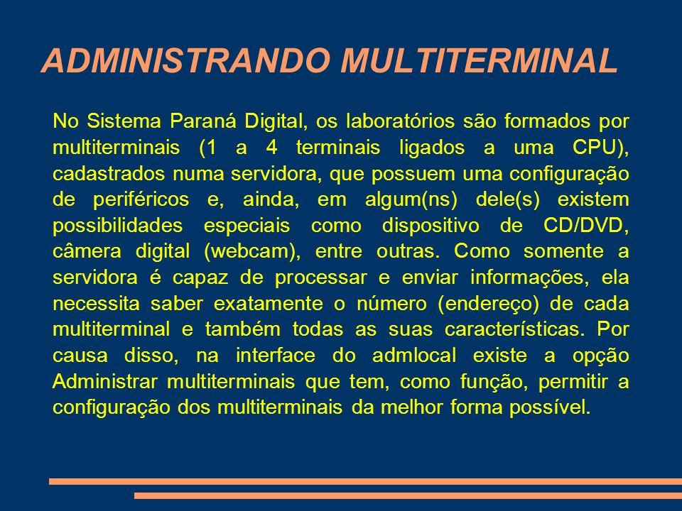 ADMINISTRANDO MULTITERMINAL No Sistema Paraná Digital, os laboratórios são formados por multiterminais (1 a 4 terminais ligados a uma CPU), cadastrado