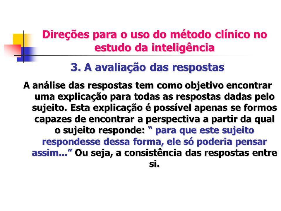 Direções para o uso do método clínico no estudo da inteligência 3. A avaliação das respostas A análise das respostas tem como objetivo encontrar uma e