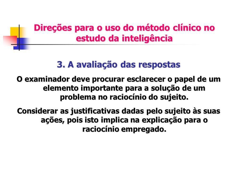 Direções para o uso do método clínico no estudo da inteligência 3. A avaliação das respostas O examinador deve procurar esclarecer o papel de um eleme