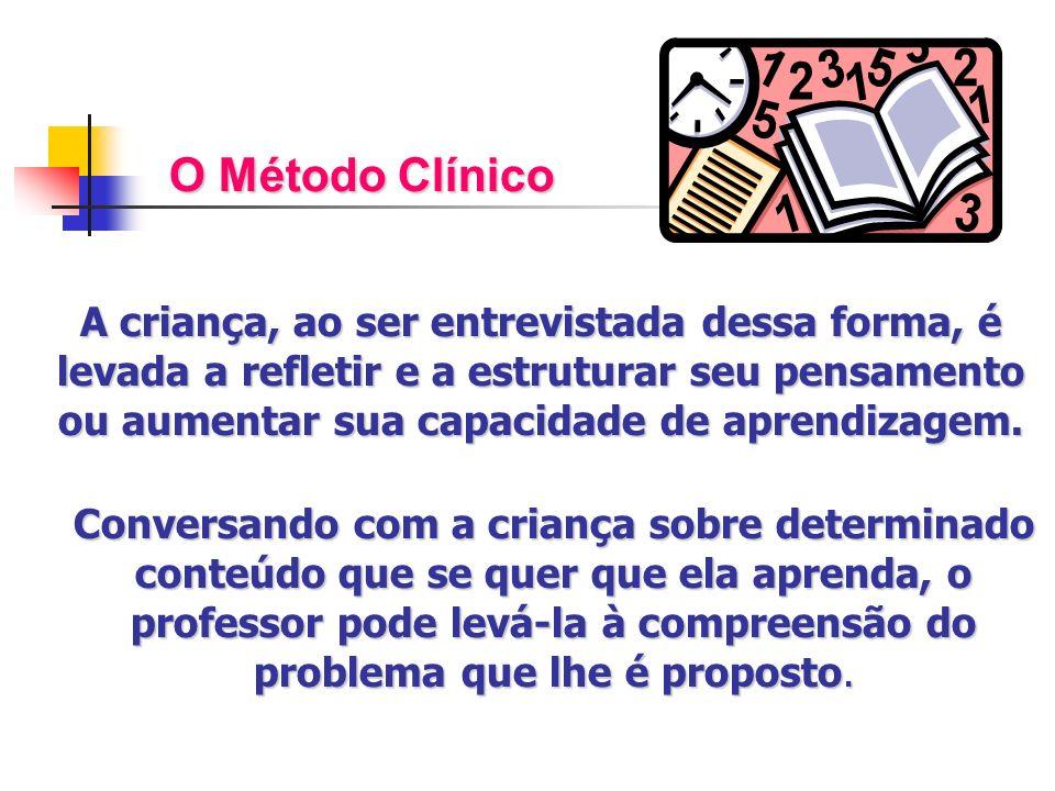 O Método Clínico A criança, ao ser entrevistada dessa forma, é levada a refletir e a estruturar seu pensamento ou aumentar sua capacidade de aprendiza