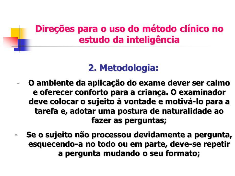 Direções para o uso do método clínico no estudo da inteligência 2. Metodologia: -O ambiente da aplicação do exame dever ser calmo e oferecer conforto
