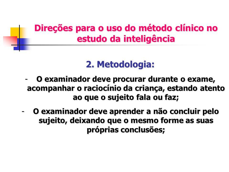 Direções para o uso do método clínico no estudo da inteligência 2. Metodologia: -O examinador deve procurar durante o exame, acompanhar o raciocínio d