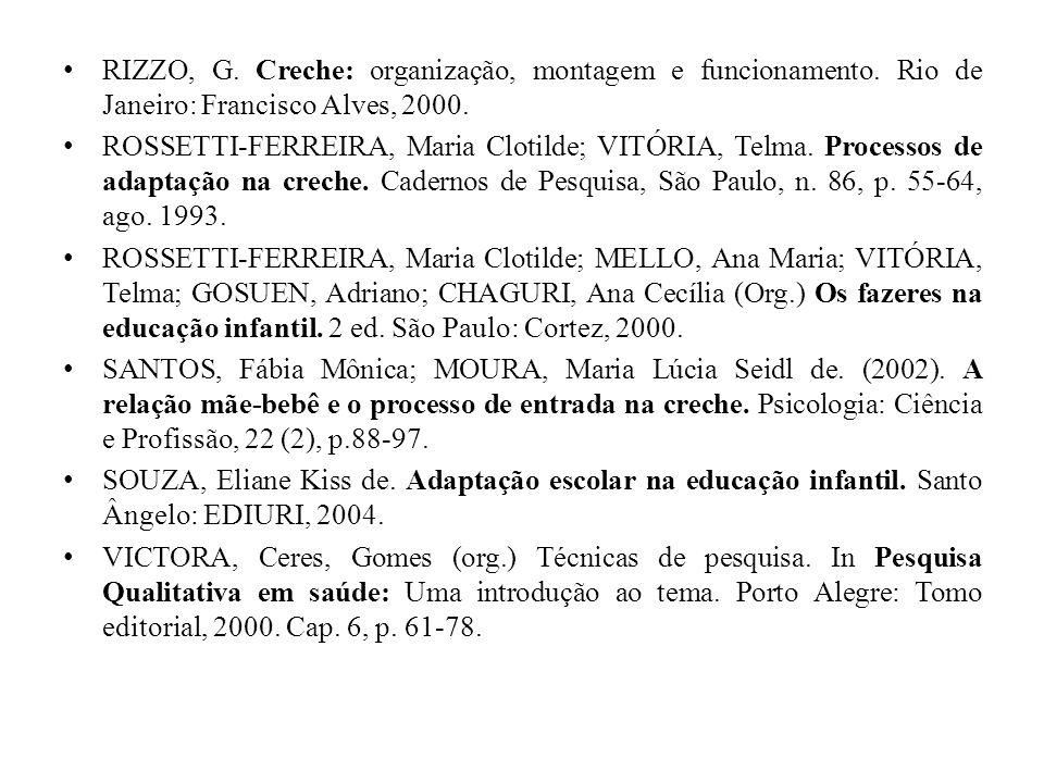 RIZZO, G. Creche: organização, montagem e funcionamento. Rio de Janeiro: Francisco Alves, 2000. ROSSETTI-FERREIRA, Maria Clotilde; VITÓRIA, Telma. Pro