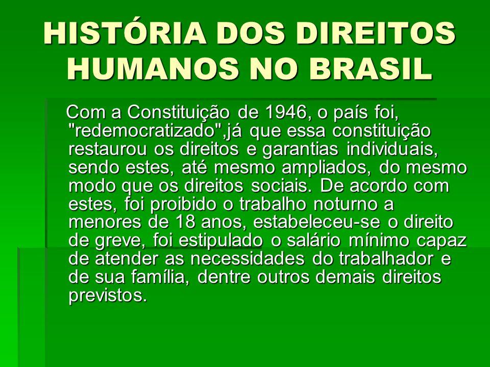 HISTÓRIA DOS DIREITOS HUMANOS NO BRASIL Com a Constituição de 1946, o país foi,