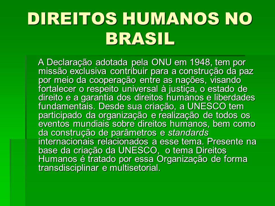 DIREITOS HUMANOS NO BRASIL A Declaração adotada pela ONU em 1948, tem por missão exclusiva contribuir para a construção da paz por meio da cooperação
