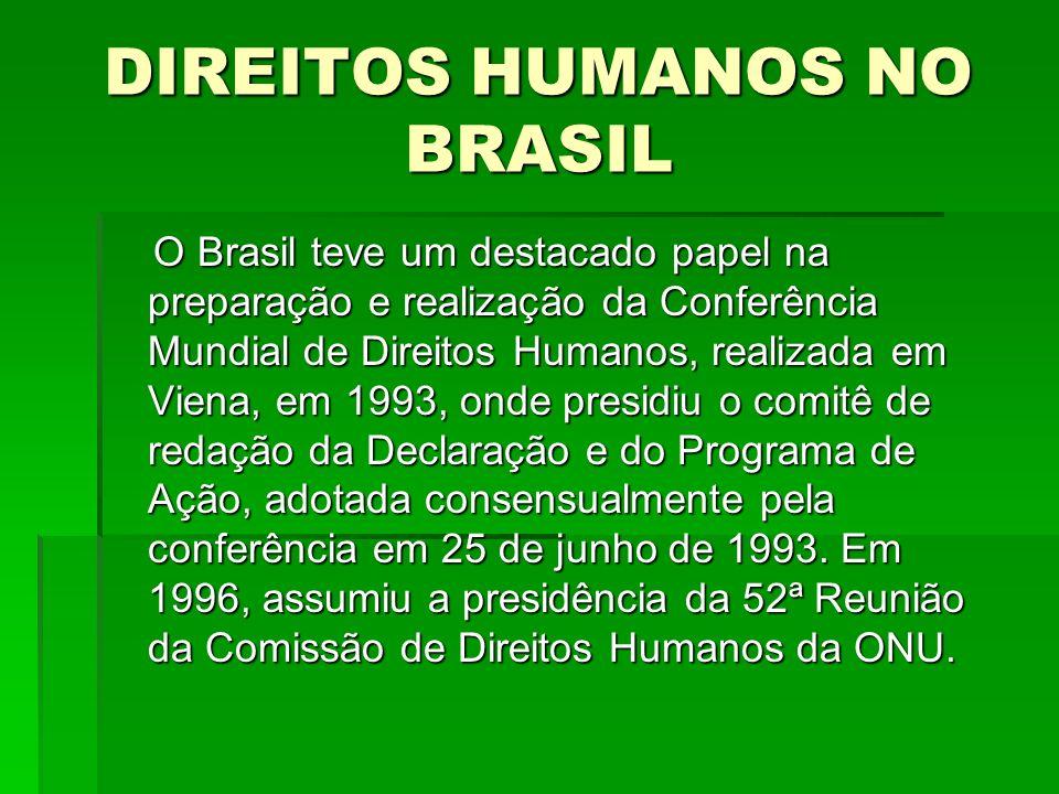 DIREITOS HUMANOS NO BRASIL O Brasil teve um destacado papel na preparação e realização da Conferência Mundial de Direitos Humanos, realizada em Viena,