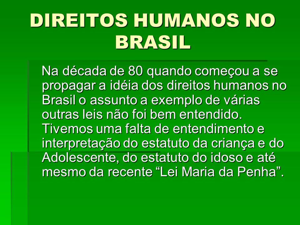 DIREITOS HUMANOS NO BRASIL Na década de 80 quando começou a se propagar a idéia dos direitos humanos no Brasil o assunto a exemplo de várias outras le