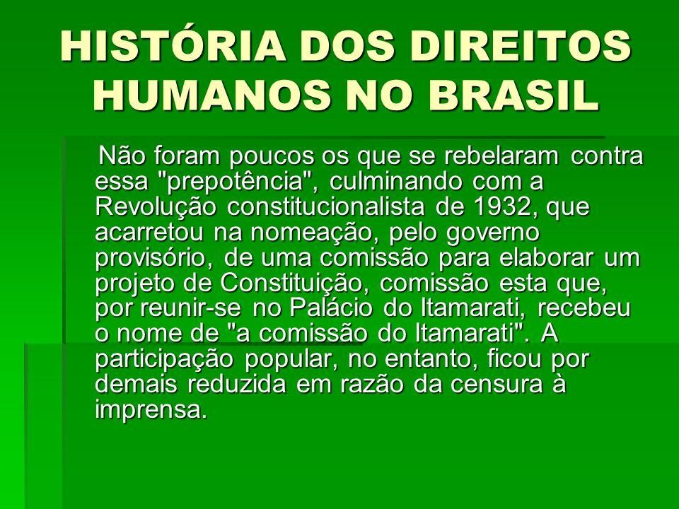 HISTÓRIA DOS DIREITOS HUMANOS NO BRASIL Não foram poucos os que se rebelaram contra essa
