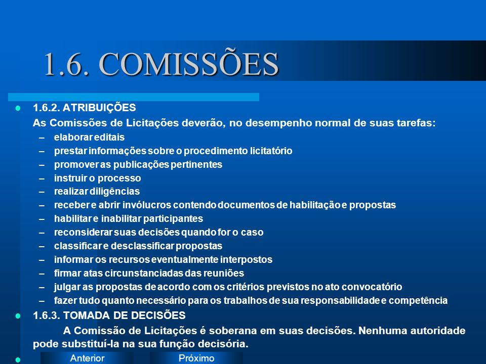 PróximoAnterior 1.6. COMISSÕES 1.6.2. ATRIBUIÇÕES As Comissões de Licitações deverão, no desempenho normal de suas tarefas: –elaborar editais –prestar