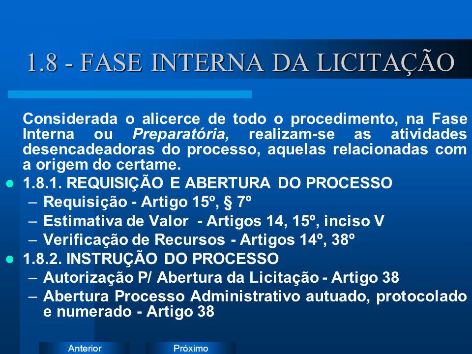 PróximoAnterior 1.8 - FASE INTERNA DA LICITAÇÃO Considerada o alicerce de todo o procedimento, na Fase Interna ou Preparatória, realizam-se as atividades desencadeadoras do processo, aquelas relacionadas com a origem do certame.