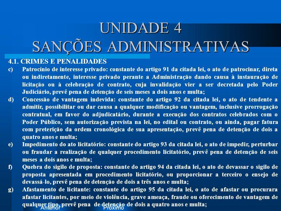 PróximoAnterior UNIDADE 4 SANÇÕES ADMINISTRATIVAS Instruções: Exclua o ícone do documento de exemplo e substitua-o pelos do documento de trabalho: Cri