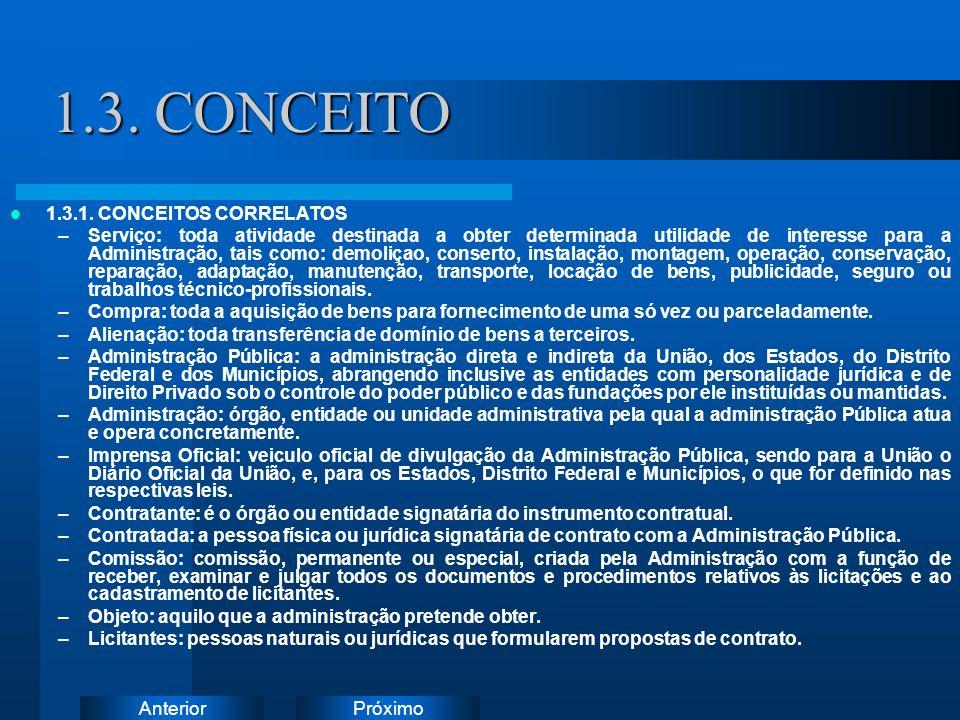 PróximoAnterior 1.3. CONCEITO 1.3.1. CONCEITOS CORRELATOS –Serviço: toda atividade destinada a obter determinada utilidade de interesse para a Adminis
