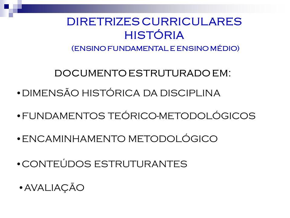 AVALIAÇÃO DIRETRIZES CURRICULARES HISTÓRIA (ENSINO FUNDAMENTAL E ENSINO MÉDIO) DOCUMENTO ESTRUTURADO EM: DIMENSÃO HISTÓRICA DA DISCIPLINA FUNDAMENTOS