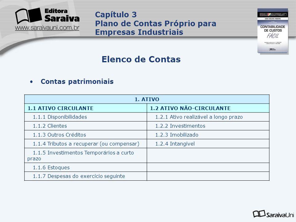 Capa da Obra Contas patrimoniais Elenco de Contas Capítulo 3 Plano de Contas Próprio para Empresas Industriais 1. ATIVO 1.1 ATIVO CIRCULANTE1.2 ATIVO