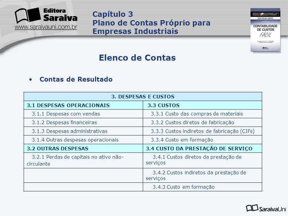 Capa da Obra Contas de Resultado Elenco de Contas Capítulo 3 Plano de Contas Próprio para Empresas Industriais 3. DESPESAS E CUSTOS 3.1 DESPESAS OPERA